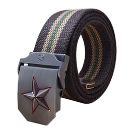 $enCountryForm.capitalKeyWord Canada - Five Rays Star Buckle  Belt Outdoor Thick Canvas Belts Luxury Jeans Belts For Men Tactical Waist Nylon Strap