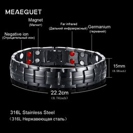 Wholesale Meaeguet Tow Row Health Elements Energy Bracelet Jewelry For Men Black Stainless Steel Chain Link Magnet Therapy Bracelets