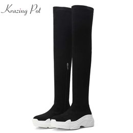 714bbae6ab61 Krazing Pot velvet flock thick bottom waterproof beauty zip superstar  stretch thin leg vintage wedges over-the-knee boots L88