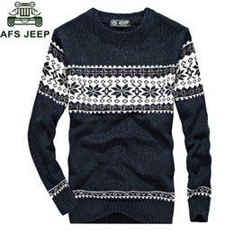 Man Wear Sweaters Canada - Afs 2018 Autumn New Mens Sweaters Fashion Casual Print O-neck Long Sleeve Warm Knitted Wear Men M-3XL Slim Fit Pullovers