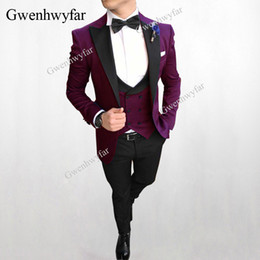 Discount wedding burgundy gold suits black men - Gwenhwyfar Elegant Burgundy Formal Men's Suits Wedding Groom Costume Homme Slim Fit British Decent Dinner Prom Suit