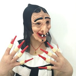 $enCountryForm.capitalKeyWord NZ - Full Face Witch Mask Red Fingernail Masquerade Cosplay Halloween Props Party Masks Decoration Accessories