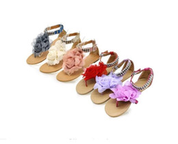 Wholesale New Sandals Women Bohemia Beaded Summer Flower Flat Heels Flip Flops Women s Shoes Tstraps Sandals