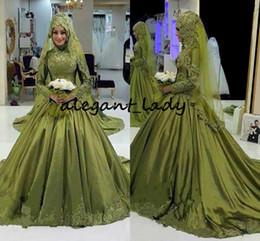 $enCountryForm.capitalKeyWord Australia - Army Hunter Green Muslim Wedding Dresses with Long Sleeve 2018 Modest High Neck Lace Applique Middle East Arabic Church Wedding Gown