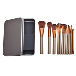 Best wood online shopping - Best selling Wood Handle Synthetic Hair MakeUp Brush set Maquillaje piece Makeup Brushes custom logo makeup brush With Metal Box