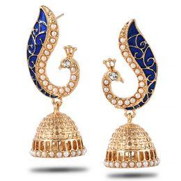 Discount mother pearl mosaics - Gold Pearl Blue Peacock Drop Earrings For Women Mosaic Brincos De Festa Indian Jewelry Pendientes Largos Joias