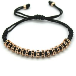 $enCountryForm.capitalKeyWord Australia - Women Macrame Bracelets,6MM Gold Color Micro Pave Black CZ Stoppers Beads Strand Macrame Charm Bracelet For Women
