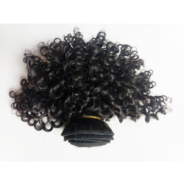virgin cambodian kinky hair NZ - Unprocessed Mink Malaysian Brazilian virgin human Kinky curly Hair Short Style 8-12inch Best Quality European Indian remy hair weft Dyeable