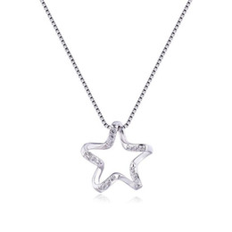 Discount japan presents 2018 New 925 Sterling Silver Necklace Pentacle Star Necklace Female Clavicle Chain Japan and South Korea Hollow Wild Tre