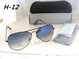 $enCountryForm.capitalKeyWord NZ - 5PCS Designer Classic Pilot Gradient Sunglasses For Men Women Metal Sun Glasses Eyewear Light Blue 58mm Glass Lenses With Black Case Box