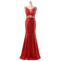 red neck wedding dresses UK - Real Photos Women's Sequins Mermaid V-Neck Bridesmaid Dresses Long Red Plus Size Floor Length Zipper Sleeveless Wedding Party Dresses