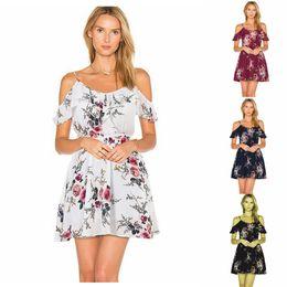 c7d0d47ea Las niñas Boho Floral fuera del hombro del vestido de impresión Slash  cuello mujeres del verano corto partido de la tarde Casual Beach Lotus Leaf  vestido ...