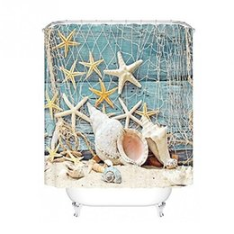 Chinese  Fishing Net Sea Shell Starfish Pattern Polyester Curtain Waterproof Bathroom Shower Curtain Home Decoration 180cm x 180cm manufacturers