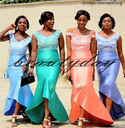 Wholesale nigerian new african dresses for sale - Group buy 2020 New Nigerian African Bridesmaid Dresses Lavender Maid Of Honor Gowns Formal Wedding Party Guest Dress Hi Lo vestidos de fiesta