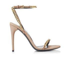 Chinese  Studded Gold Chains High Heels Sandals Rome Style Stiletto Heels Women Shoes Ankle Buckle Strap Slingback Women Pumps manufacturers