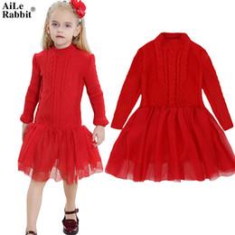 $enCountryForm.capitalKeyWord Australia - AiLe Rabbit Girls Sweater Dress Autumn Winter Princess Bottoming Shirt Puff dress Fashion Children's Clothes Brand Boutique