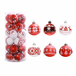 Chinese  Wholesale-24PCS Bucket 6cm Christmas Tree Ball Baubles Party Wedding Hanging Ornament Christmas Decoration Supplies For Home Decor manufacturers