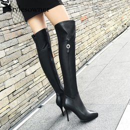 genuine leather over knee boots Australia - Stylesowner New Style Euramerican Look Thin Genuine Leather Over-the-knee Boots High Thin Heels 9cm Cow Leather Female Long boot