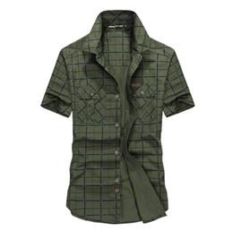 cc0c90ded35 Loose Size 5xl Men Shirts Summer Afs Jeep Brand Clothing Camiseta Masculina  Plaid Cotton Short Sleeve Men  S Shirt