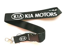 Discount kia badge Wholesale 10 pcs Popular kia car logo Mobile phone Lanyard Removable Key Chains Badge Pendant Party Gift Favors C-012