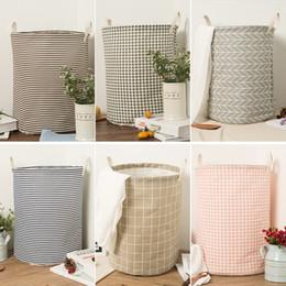 Washing Linen Clothes Canada - Simple Cotton Linen Washing Hamper Soft Stripe Lattice Pattern Storage Basket Easy To Receive Dirty Clothes Baskets Popular 7cj B