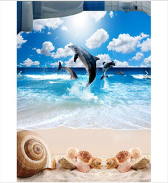 Textile Waterproofing Australia - 3D wallpaper floor painting Self-adhesive Waterproof Flooring Wall Sticker Customized 3D Wave Beach Shell Starfish Living Room Floor