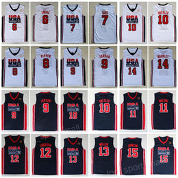 1992 команда США баскетбол трикотажные изделия мечта один Ларри Берд Майкл Патрик Юинг Скотти Пиппен Клайд Дрекслер Джон Стоктон Малоун Маллин Джонсон
