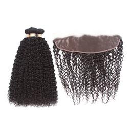$enCountryForm.capitalKeyWord NZ - Brazilian Virgin Hair Kinky Curly Hair with 13x4 Lace Frontal Closure Natural Color Kinky Curly Hair 3 Bundles with Lace Frontal
