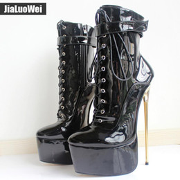 Short White High Heels NZ - New Sexy 22cm Women Gold Metal Thin Heel Ankle Boots High heeled Platform Fetish Nightclub Party Dance Shoes MAN Short boot Stage show
