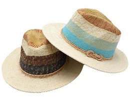 Adult Straw Cowboy Hats Wholesale Canada - Fashion Men Straw Panama Hats  for Spring Summer Wide cd366f981ac4