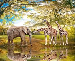 $enCountryForm.capitalKeyWord NZ - Custom 3d wall murals wallpaper 3d photo wallpaper murals Animal World Elephant Giraffe 3D Landscape TV Background Wall papers home decor
