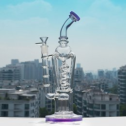 beaker base tree arm bong NZ - Purple Thick Base Spiral Tube Dab Rig Bent Bong Glass 14mm Joint Glass Bong Arm Tree Perc Beaker Free Shipping