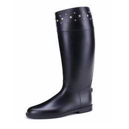 decorative boots NZ - New Arrival Women Horse Riding Boots with Zipper Decorative Diamond Waterproof Fashion Rain Boots