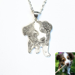 cat portraits NZ - Custom Portrait Dog Pet Photo Necklace Handmade Dog and Cat Picture Charm Personalized Pet Memorial Jewelry Loss Gift