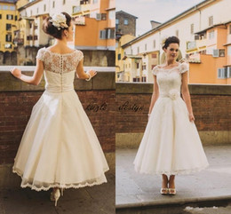 $enCountryForm.capitalKeyWord NZ - 50s Style Retro Vintage Wedding Dresses 2018 Illusion Neck Cap Sleeves Lace Beads Buttons Short Ankle Length Sash Organza Cheap Bridal Dress