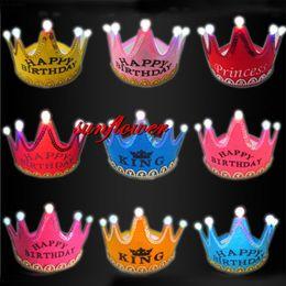 $enCountryForm.capitalKeyWord NZ - Birthday Party Crown Headband King Princess Led Light Cap Hat For Children Kids