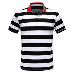 $enCountryForm.capitalKeyWord NZ - Designer Polo Shirts Mens Fashion Lapel Cotton Striped Snake Pattern Stitching Short Sleeves Designer Male Shirts