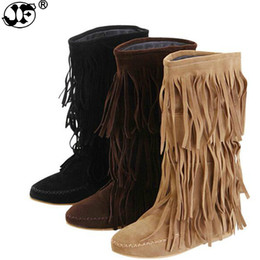 layer boots UK - Hot 3 Layers Fringe Boots 2018 Low Heel Tassel Moccasin Flat Mid-Calf Women Boots Plus Size 35~43 Drop Ship 639
