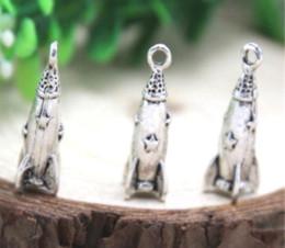 Rocket pendants online shopping - 10pcs Rocket Ship Charms Antique Tibetan silver D Rocket Ship Charm pendants x x mm