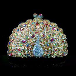 $enCountryForm.capitalKeyWord NZ - Nice- 8115E Multi-color Crystal Peacock Bird Wedding Bridal Party Night Hollow Metal Evening Purse Clutch Bag Case Box Handbag