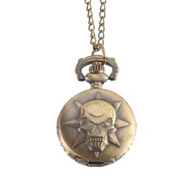 Montre De Poche Vintage Couleur Bronze Montre À Quartz Cool Chain Skull Pattern Watches @ 88