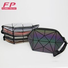 Discount gold make up bag - 2018 Fashion Geometric Cosmetic Bag For Women Luminous Makeup Bag Ladies Zipper Cosmetics Organizer Folding Travel Make