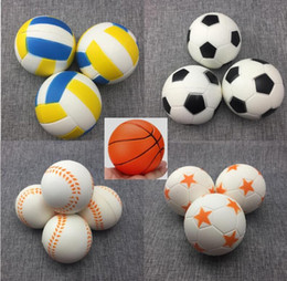 Squeezing Balls Free NZ - Jumbo Basketball Football Volleyball Squishy Slow Rising Toys PU Sport Ball Fun Kids Squeeze Soft Relieve Charms 5 Types HOT