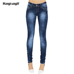 China jeans women summer blue elasticity Pencil Pants Tight cowboy decoration Scratched Moustache Effect Skinny sisters wangcangli cheap cowboy decorations suppliers