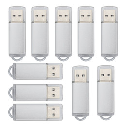 stick drives Canada - Silver Bulk 200PCS 32GB USB 2.0 Flash Drive Rectangle Thumb Pen Drives Flash Memory Stick Storage for Computer Laptop Tablet Macbook U Disk