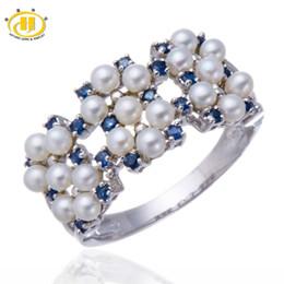 Hutang природный пресноводный жемчуг и синий сапфир твердый стерлингового серебра 925 кольцо женские ювелирные изделия подарок на годовщину