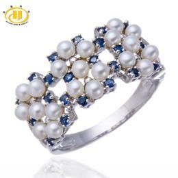 Hutang природный пресноводный жемчуг и синий сапфир твердый стерлингового серебра 925 кольцо женские ювелирные изделия подарок на годовщину на Распродаже