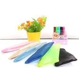 Simple School pen online shopping - Popular Colorful Pencil Bags Simple Translucent Nylon Mesh Make Up Pouch Durable Rectangle Pen Bag Hot Sale lt B
