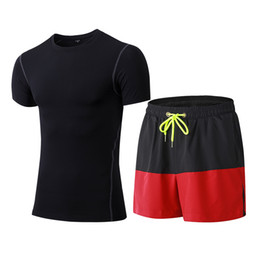 red compression shorts 2019 - 2 Pieces Men Sports Suits Running Clothes Short Compression Tights Gym Fitness T Shirt Quick Dry Black GYM Men's Sp