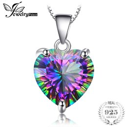mystic fire topaz pendant UK - JewelryPalace 4.35ct Genuine Rainbow Fire Mystic Topaz Heart Pendant Solid 925 Sterling Silver Vintage Jewelry Without a Chain